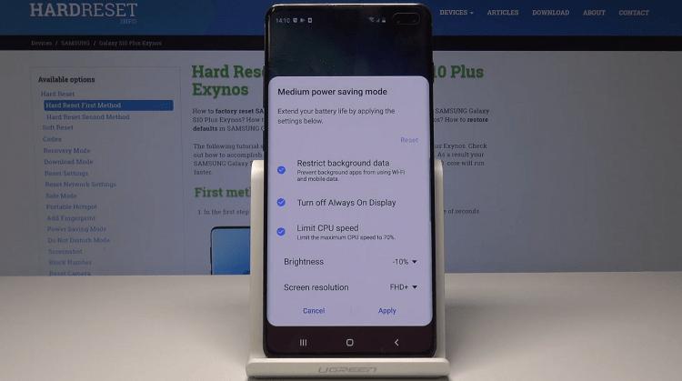 Các chế độ tiết kiệm PIN của Samsung Galaxy S10