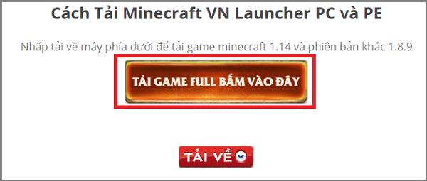 Bấm để tải Minecaft phiên bản miễn phí đầy đủ cho PC