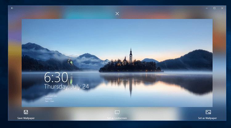 Các hình thức cài đặt hình nền Bing trên phần mềm SPOTLIGHTS WALLPAPERS