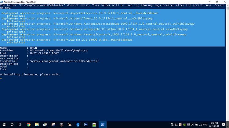 Ảnh chụp tiến trình làm việc của Windows10Debloater