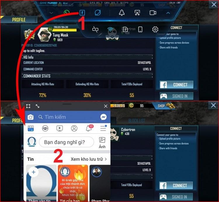 Mở ứng dụng khác cùng lúc khi chơi game trên một màn hình