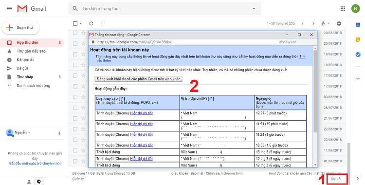 Theo dõi hoạt động tài khoản Gmail của bạn