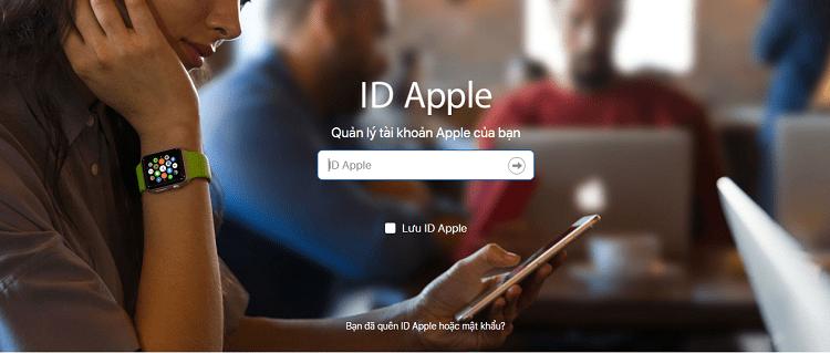 Vào trang quản lý ID Apple