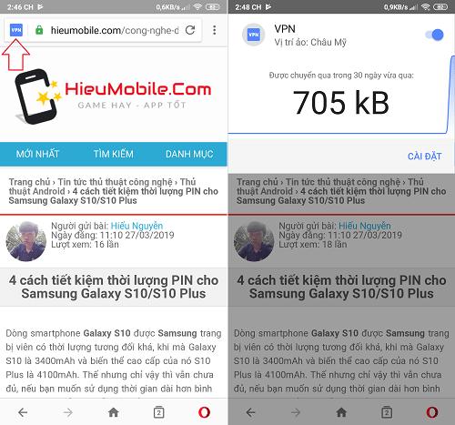 Bật tắt VPN qua biểu tượng ở cạnh ô nhập URL