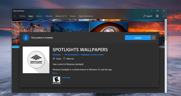 Phần mềm SPOTLIGHTS WALLPAPERS trên cửa hàng Microsoft
